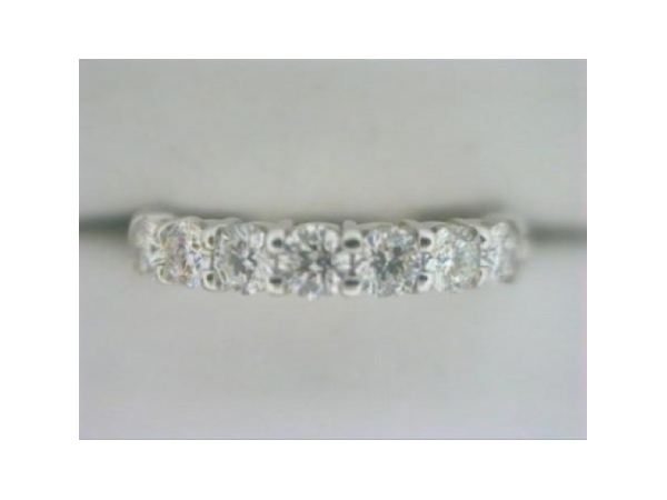 Diamond Anniversary Band - Ladies 14 karat white gold high polished diamond anniversary band.  This band features seven shared prong set round diamonds.  The diamonds are G-H color, SI1 clarity and weigh 0.50 ct.  This ring weighs 3.30 grams and is size 6.00.