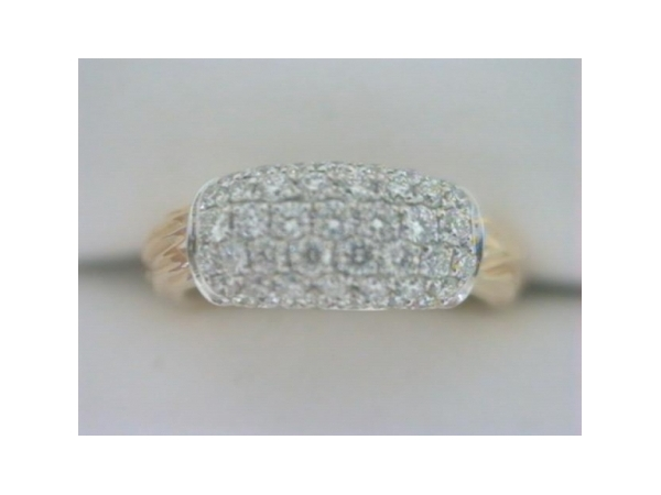 Diamond Fashion Ring - Ladies 18 karat two tone white and yellow gold high polished diamond ring.  This ring fetures 49 pave set round diamonds.  The diamonds are G-H color, VS1-2 clarity and weigh 0.59 ct.   This ring weighs 5.40 grams and is size 6.50.