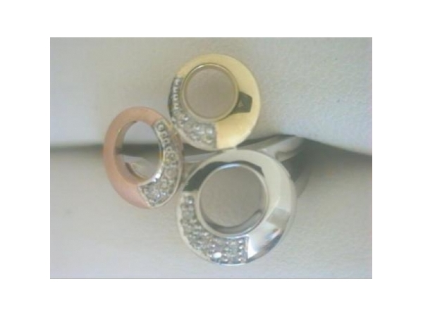 Diamond Fashion Ring - Ladies tri-color 14 karat yellow, white and rose gold high polished and matte diamond ring.  This contemporary three circle ring features 16 bead set round diamonds.  The diamonds are G-H color, SI1 clarity and weigh 0.10 ct.  This ring  weighs 4.60 grams and is size 6.75.
