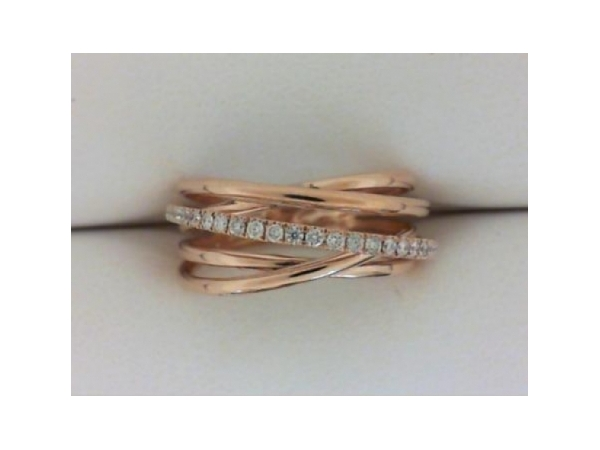 Diamond Fashion Ring - Ladies 18 karat rose gold high polished diamond crossover ring.  This five row crossover design ring features 24 pave set round brilliant cut diamonds.  The diamonds are G color, SI1 clarity and weigh 0.19 ct.  This ring weighs 3.80 grams and is size 6.50.