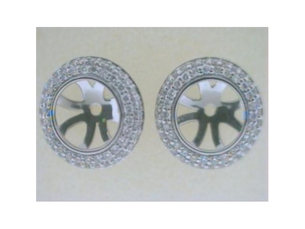 Diamond Earring Jackets - Ladies 18 karat white gold high polished diamond earring jackets.  The double row round jackets contain 114 pave set round diamonds.  The diamonds are G-H color,  VS1-2 clarity and weigh 0.34 ct.  The jackets weigh 1.80 grams.