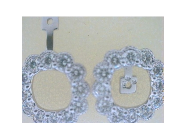 Diamond Earring Jackets - Ladies 14 karat white gold diamond earring jackets.  The convertible design jackets feature 24 G/H color SI2-I1 clarity semi bezel set round diamonds totaling 1.08ct.  The versatile design allows the jackets to be worn as a button or dangle style.  The jackets weigh 2.9 grams.