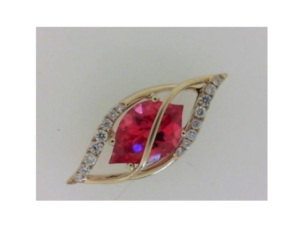 Colored Stone Pendant - Ladies 14 karat yellow gold chatham cultured padparadsha and diamond pendant.  This pendant features a prong set 11.00 mm x 7.00 mm flame cut padparadsha totaling 2.25 cts.   Accenting the pendant are 16 prong set round brilliant cut diamonds.  The diamonds are  G/H color,  SI1-2 clarityand weigh 0.16 ct.  This pendant measures 1.00 inch in length and weighs 2.80 grams.