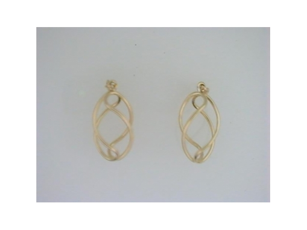Earring Jackets - Ladies 14 karat yellow gold high polished double loop earring jackets.