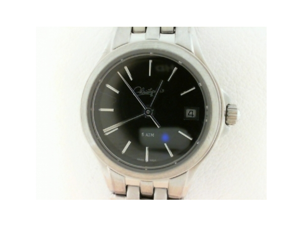 Belair Swiss Wrist Watch - Ladies stainless steel  'Christophers' belair swiss wrist watch.  This watch features a polished bezel with a black dial and date window.