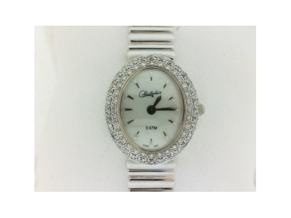 Belair Swiss Wrist Watch - Ladies 14 karat white gold and diamond
