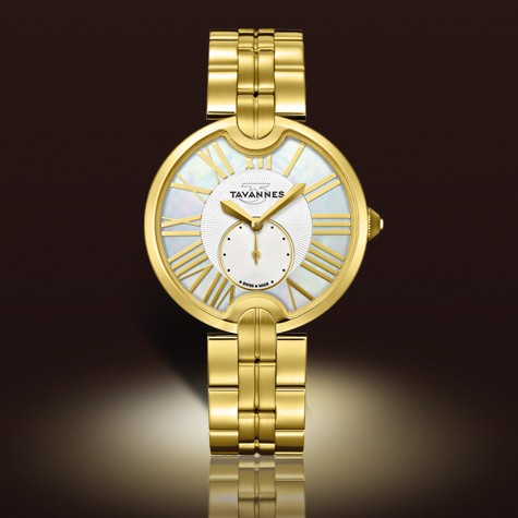 Wrist Watch - Ladies stainless steel with yellow gold finish La Jolie Collection Tavannes wrist watch.  This timepiece features a round smooth bezel with mother of pearl dial, large roman numerals, inset seconds dial and a scratch resistant sapphire crystal.  The watch is 36.00 mm in diameter with a foldover clasp.  This watch weighs 83.00 grams.