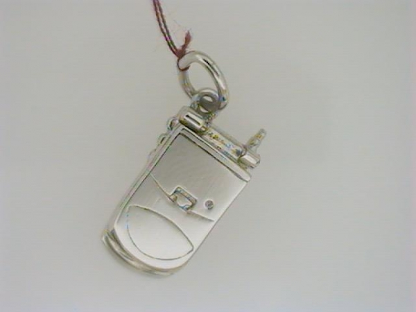 Charm - Ladies sterling silver, high polished and detailed flip cell phone charm.  This charm is17.46 mm in length and weighs 2.80 grams.