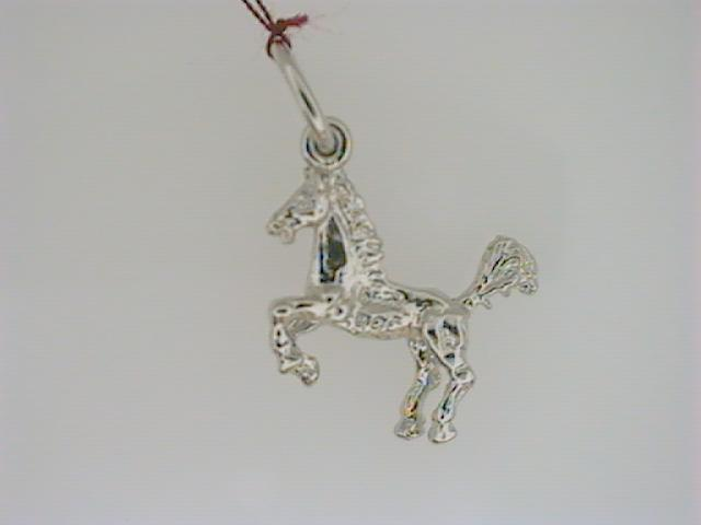 Charm - Ladies sterling silver, polished and detailed horse charm.  This charm is 14.80 mm in length and weighs 1.00 gram.