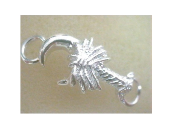 Charm - Ladies custom clasp collection sterling silver high polished and detailed palmetto and crescent moon charm clasp.  This charm measures 1.00 inch in width and weighs 2.60 grams.  This item coordinates with the sterling silver custom clasp collection.